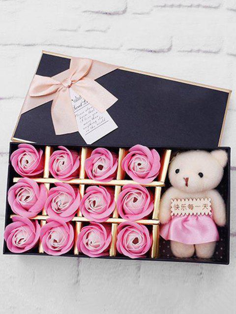 12 Pcs Valentines Day Gift Soap Rose Flowers In A Box - BLUSH RED