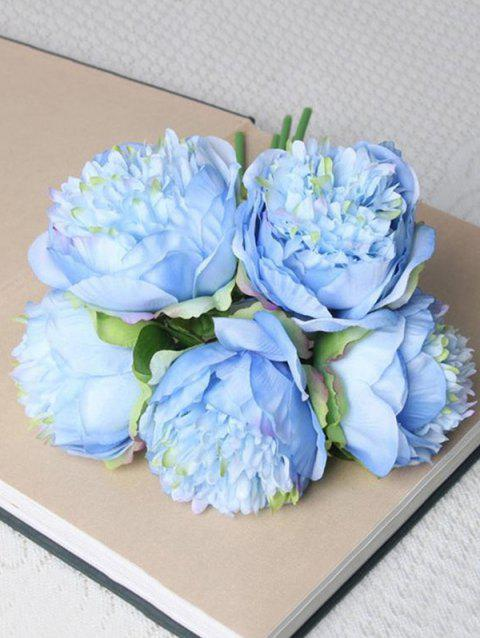 5 Pcs Home Decoration Artificial Peony Flowers - DENIM BLUE