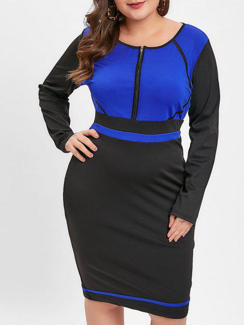 Plus Size Contrast Bodycon Office Dress - BLUEBERRY BLUE L
