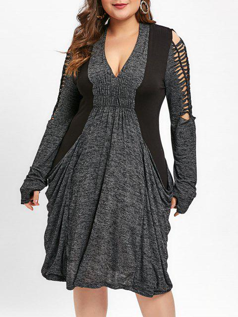 f1bb66b74bd 17% OFF  2019 Cut Out Space Dyed Baggy Dress In GRAY