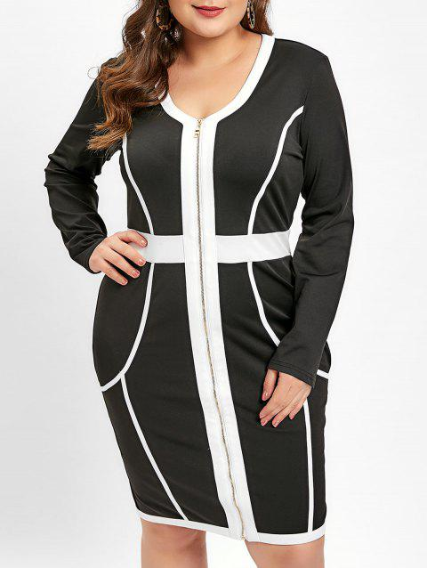 Plus Size V Neck Zip Up Color Block OL Dress