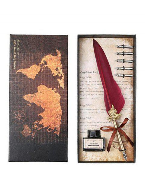 Feather Quill Pen and Ink In A Box - FIREBRICK
