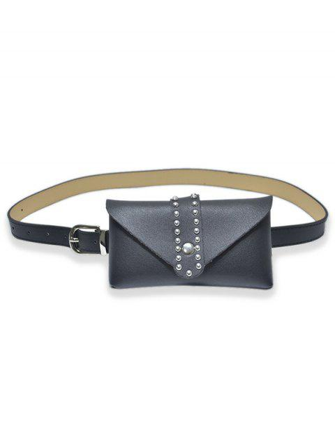 Rivet Design Fanny Pack Belt - BLACK
