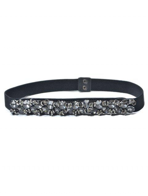 Rhinestone Decoration Waist Belt - BLACK