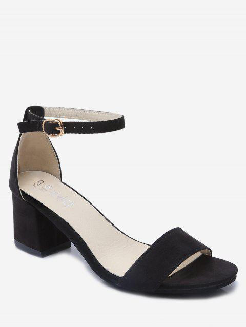 Plain Ankle Strap Chunky Heel Sandals - BLACK EU 38
