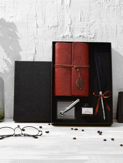 Feather Quill Pen Notebook and Ink In A Box - BLACK