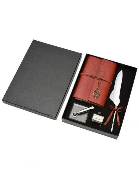 Feather Quill Pen Notebook and Ink In A Box - WHITE