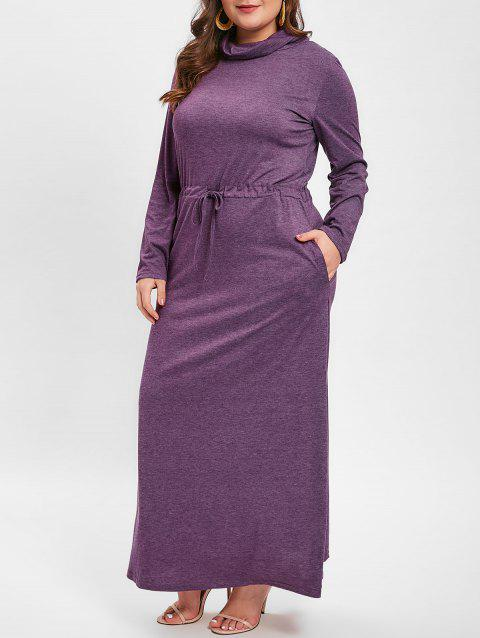 Plus Size Cowl Neck Drawstring Waist Maxi Dress - PURPLE 2X
