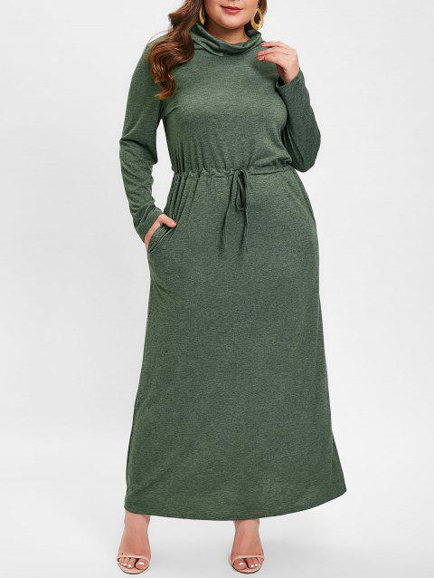 Plus Size Cowl Neck Drawstring Waist Maxi Dress - GREEN 2X