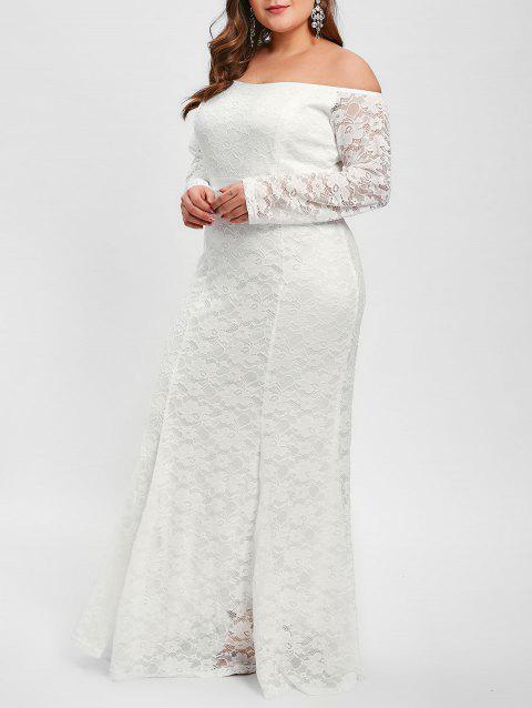 Off The Shoulder Plus Size Lace Maxi Dress - WHITE 4X