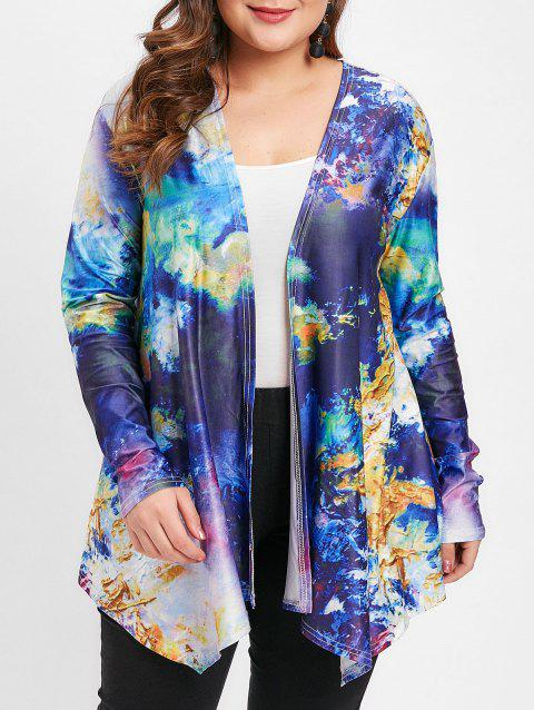 Plus Size Abstract Pattern Open Front Jacket - BLUE 3X