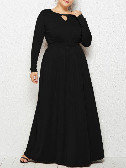 Plus Size Keyhole Neck Elastic Waist Maxi Dress - BLACK 3X