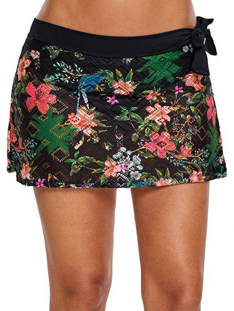 Flower Bow Tie Swim Skirt - BLACK 2XL