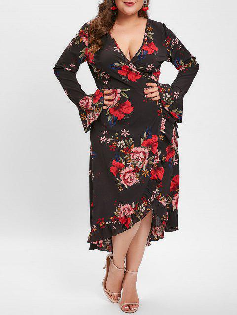 Plus Size Floral Print Ruffled Midi Dress - BLACK 3X