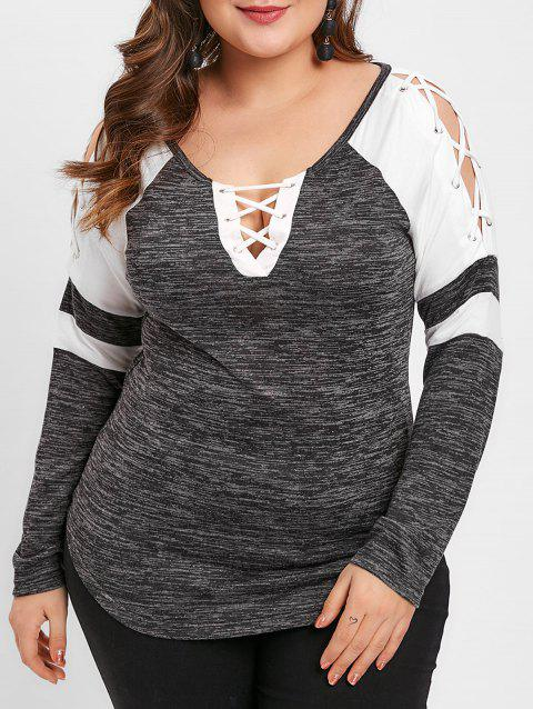 1517ae3c1ee LIMITED OFFER  2019 Plus Size Lace Up Raglan Sleeve Two Tone T-shirt ...