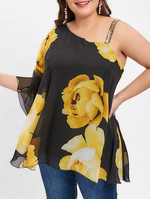 Plus Size Skew Neck Floral Print Blouse - BLACK 2X
