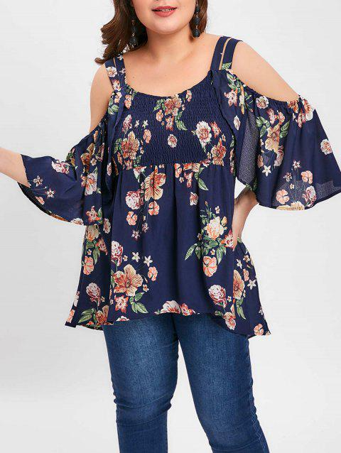 Plus Size Open Shoulder Floral Smocked Blouse - DEEP BLUE 1X