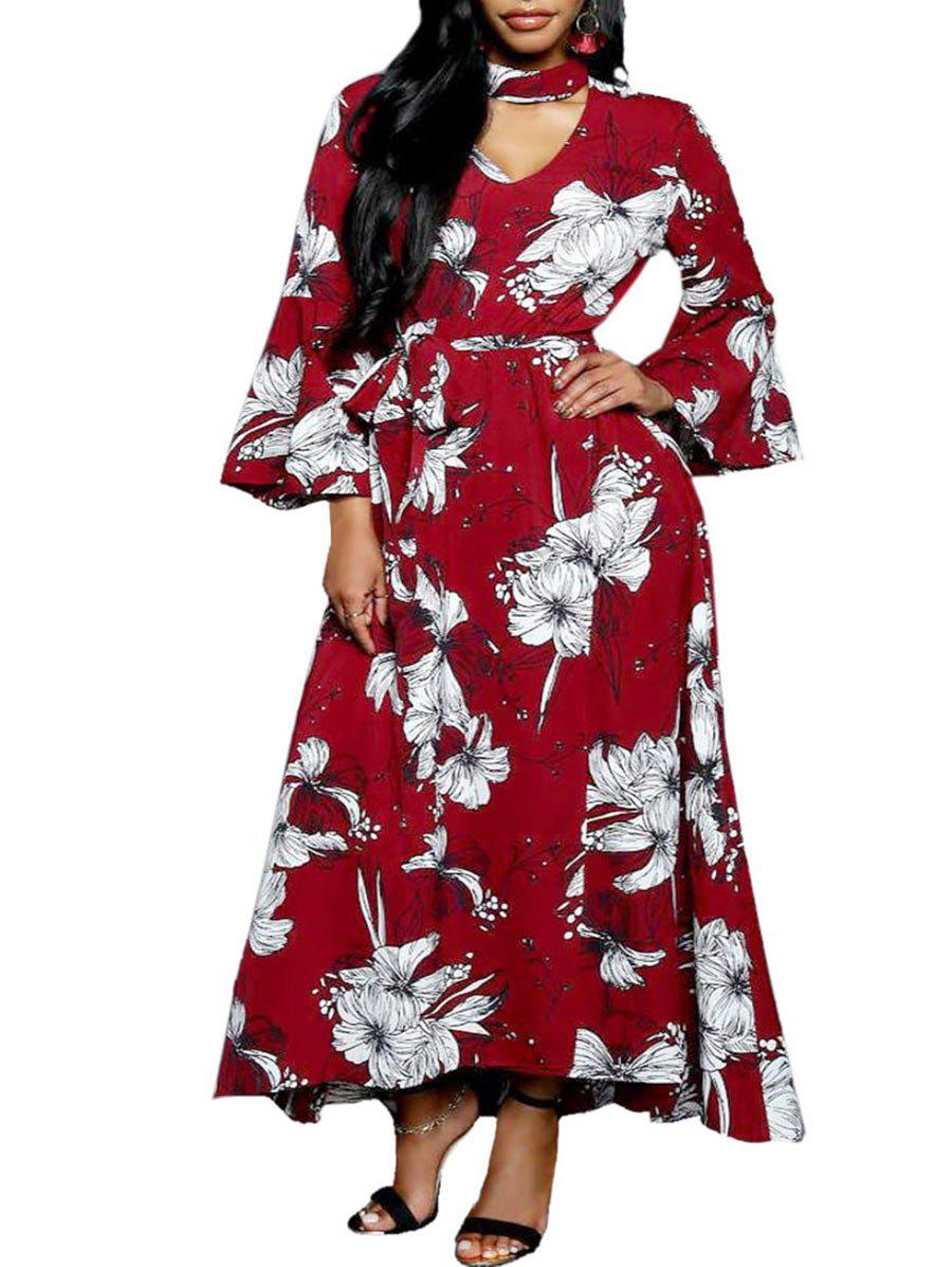 Belted Long Sleeve Floral Print Dress - RED M