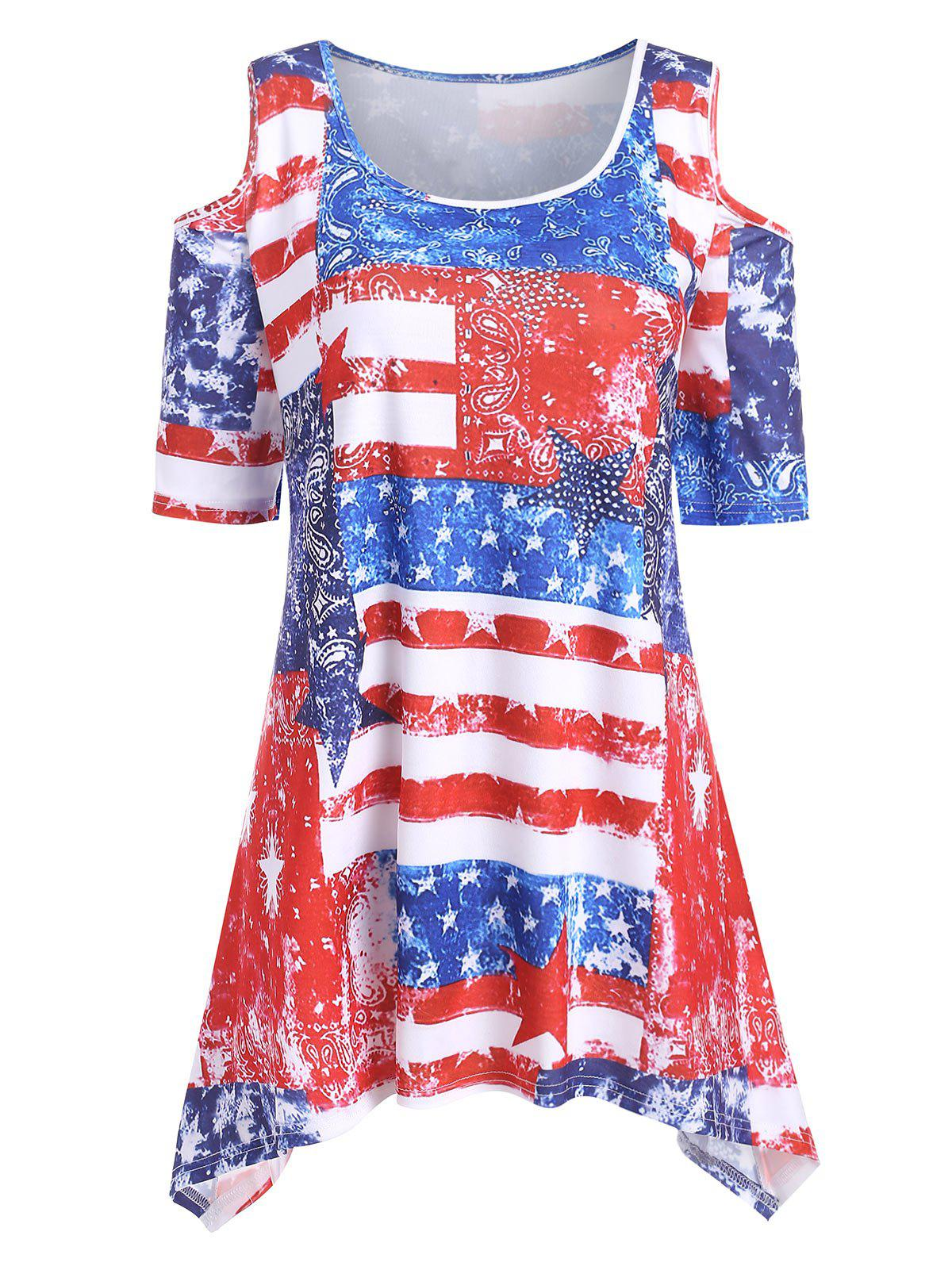 Plus Size American Flag Cold Shoulder T Shirt - RED 1X
