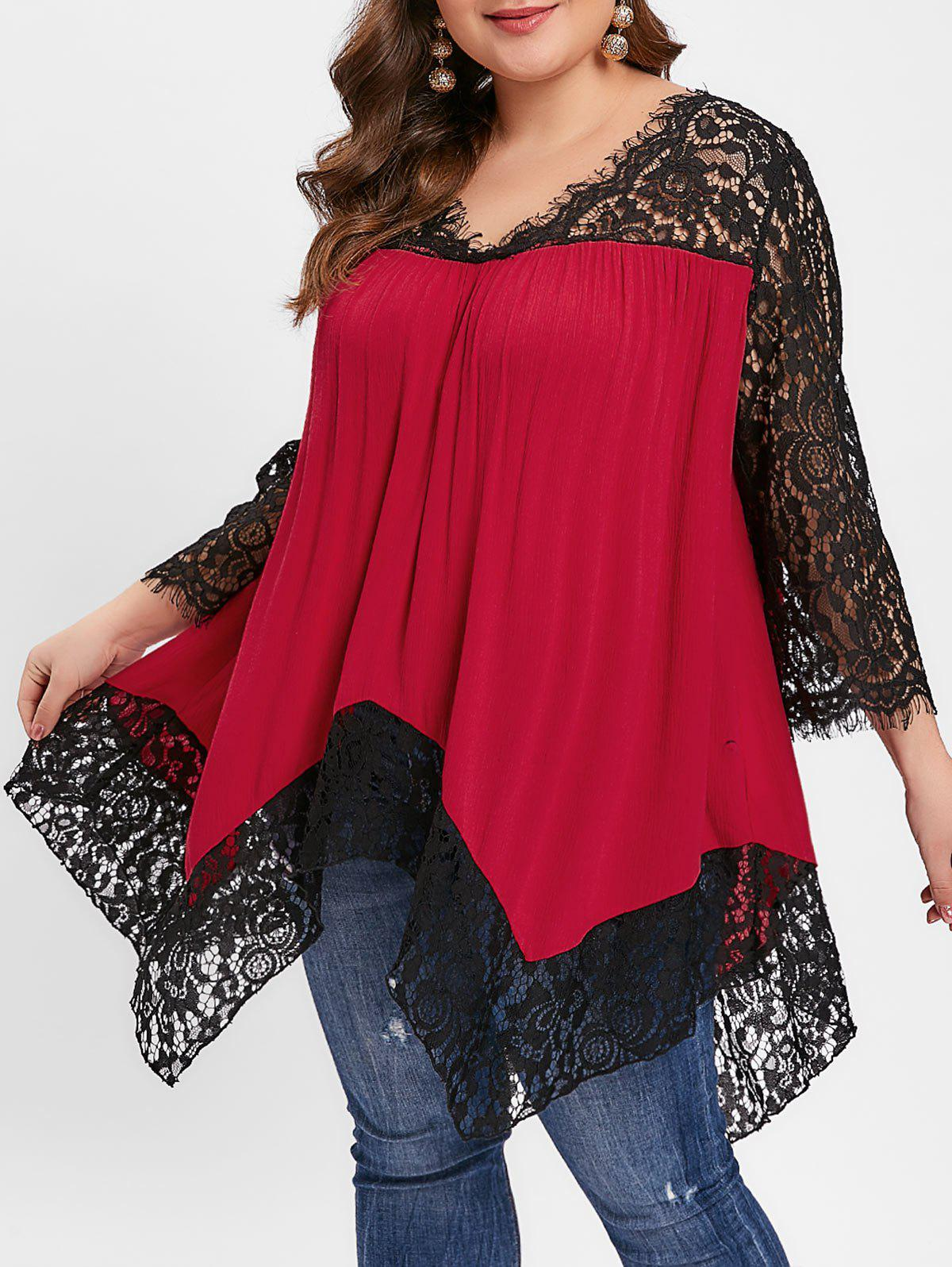 Floral Lace Insert Asymmetrical Plus Size Blouse - RED WINE 2X