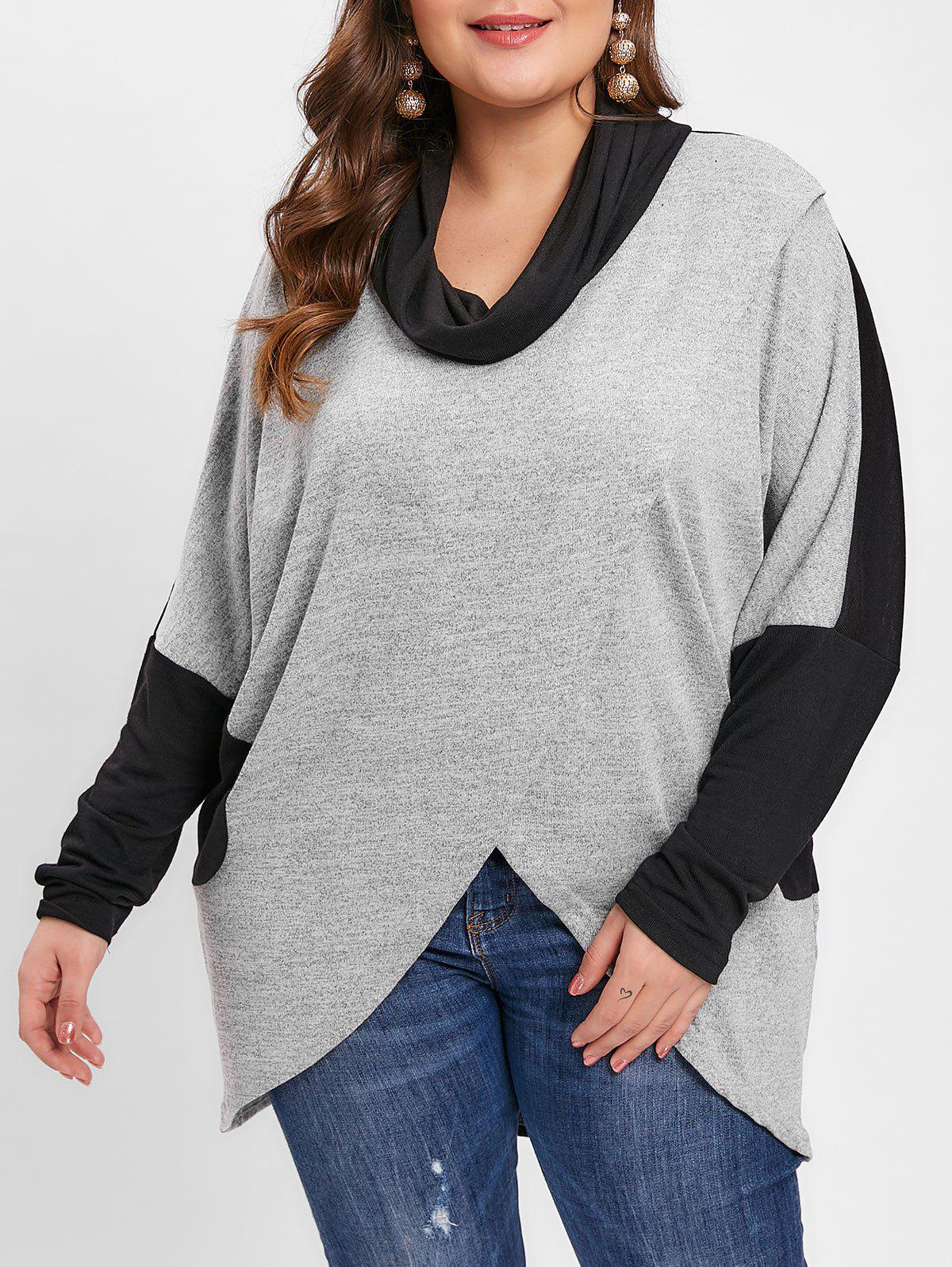Plus Size Cowl Neck Drop Shoulder Color Block Slit Long Top - GRAY 1X