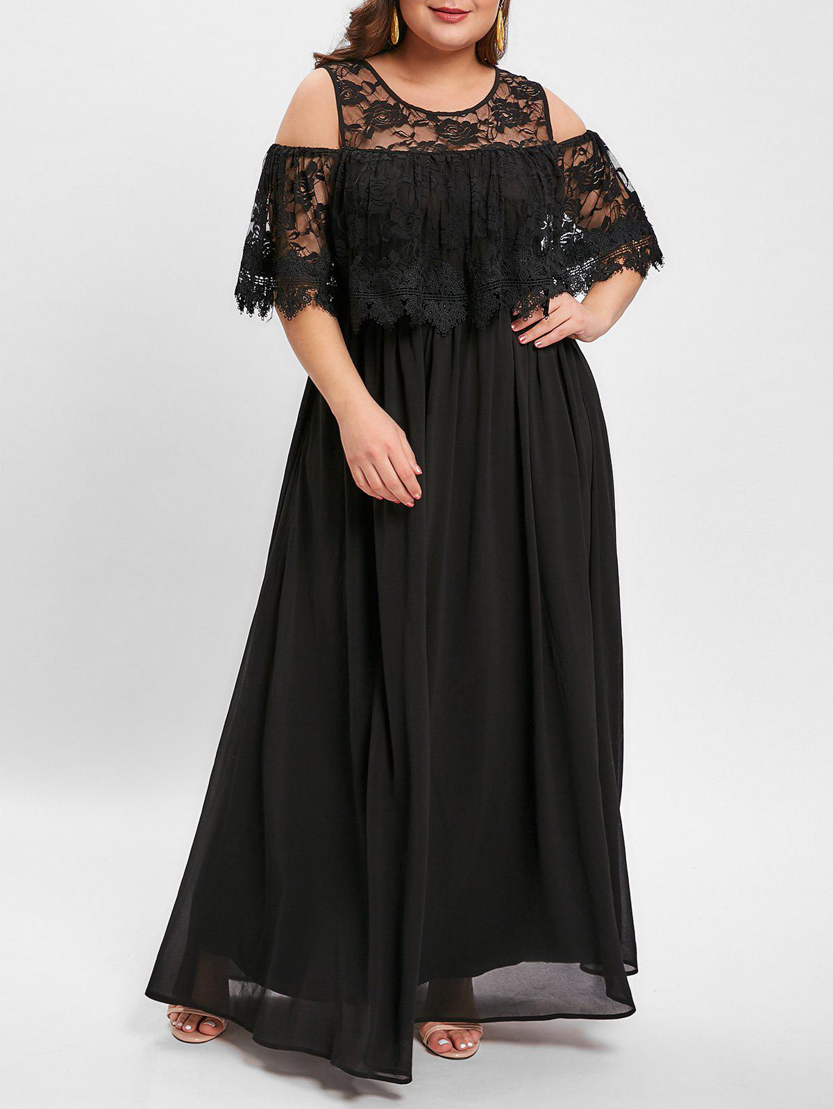Plus Size Cold Shoulder Lace Panel Maxi Dress - BLACK L