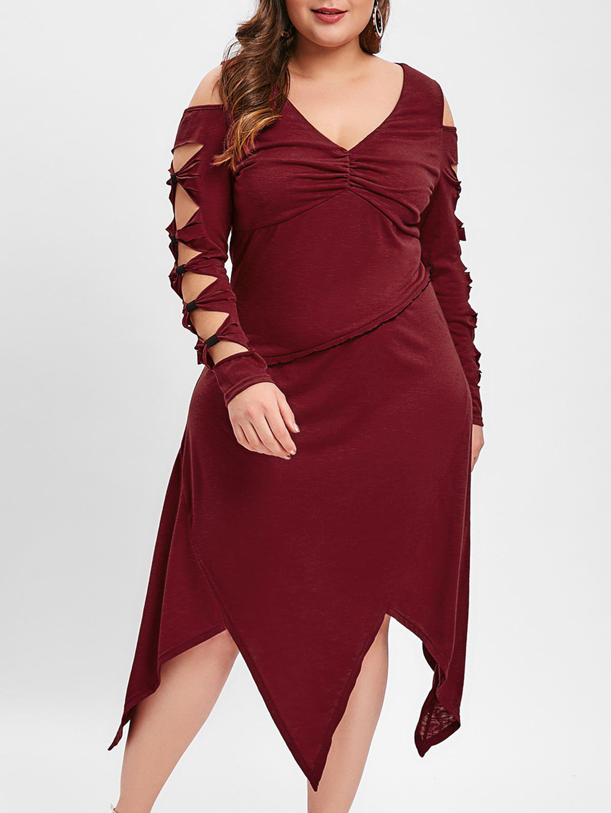 Plus Size Cold Shoulder Knotted Midi Dress - RED WINE 2X
