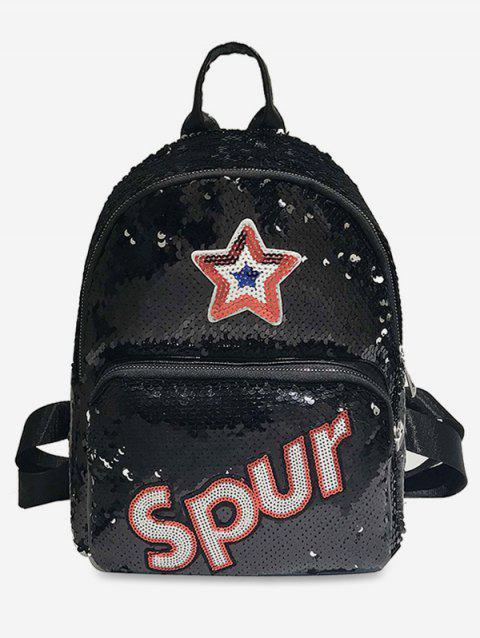 Sequined Star Pattern Multifunction Backpack - BLACK