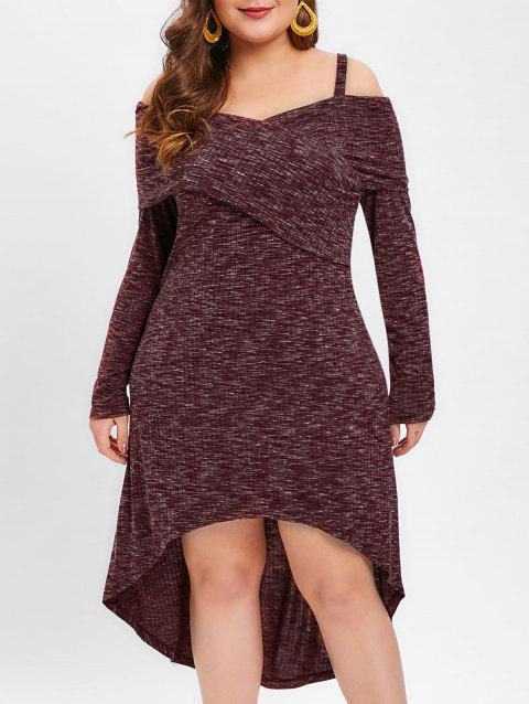 Plus Size Cold Shoulder Marled Dip Hem Dress - RED WINE 2X
