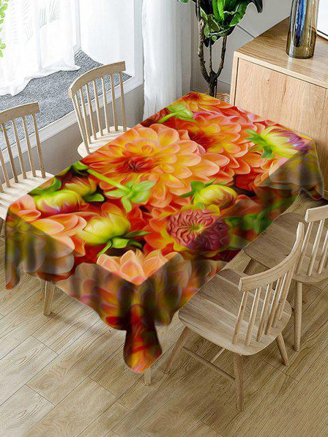 Decorative Flowers Print Waterproof Table Cloth - multicolor W54 X L54 INCH