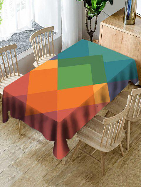 Waterproof Geometric Shape Print Table Cloth - multicolor W60 X L102 INCH