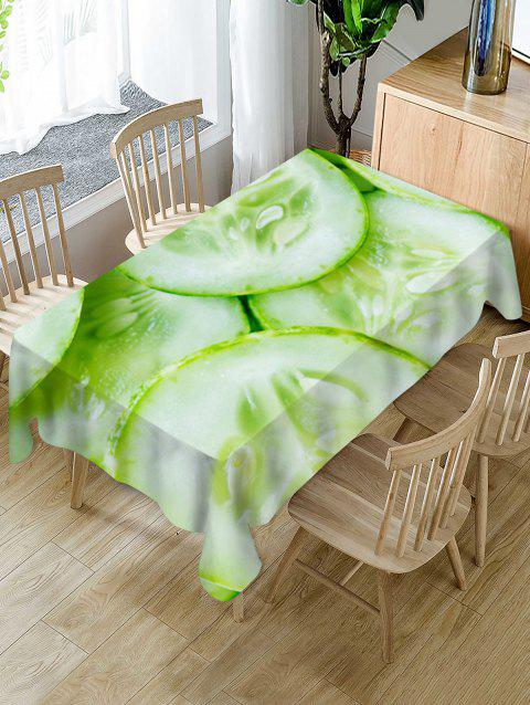 Cucumber Slices Print Waterproof Table Cloth - GREEN PEAS W60 X L120 INCH