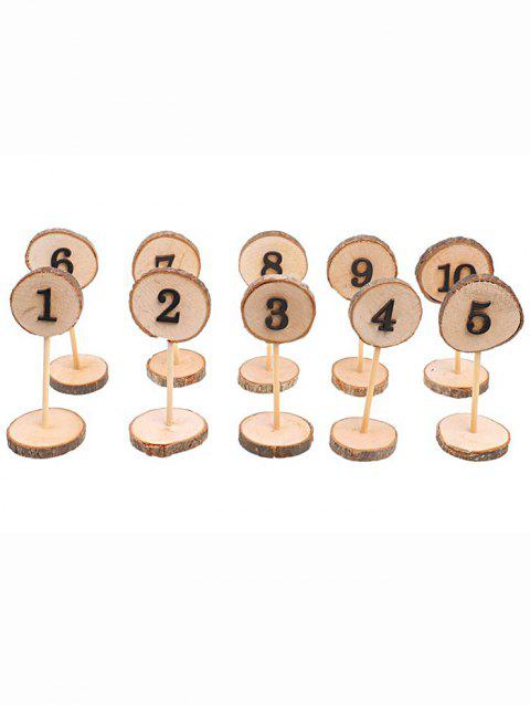 10 Pcs Wooden Table Numbers - BURLYWOOD