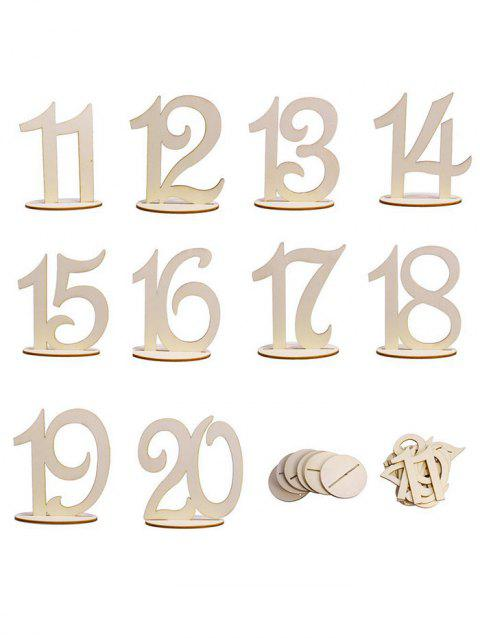 From 11st to 20th Wood Table Numbers - BURLYWOOD