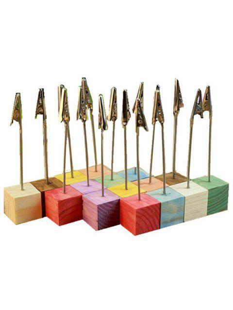 10 Pcs Colorful Wood Base Clip Table Number Holders - multicolor
