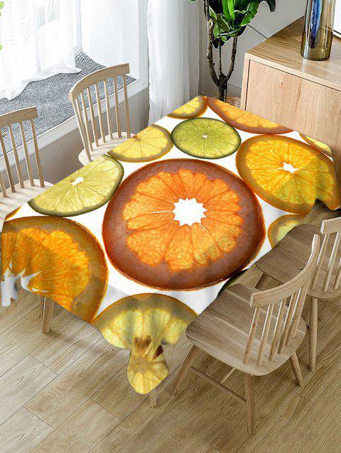 Waterproof Fruits Slices Print Table Cloth - ORANGE GOLD W54 X L72 INCH