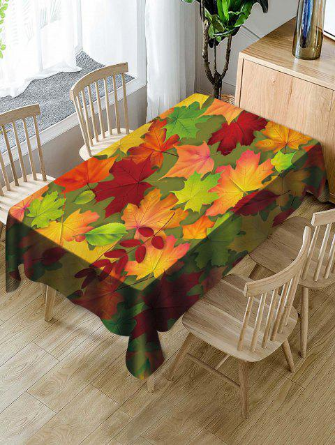 Waterproof Decorative Leaves Print Table Cloth - multicolor W54 X L54 INCH