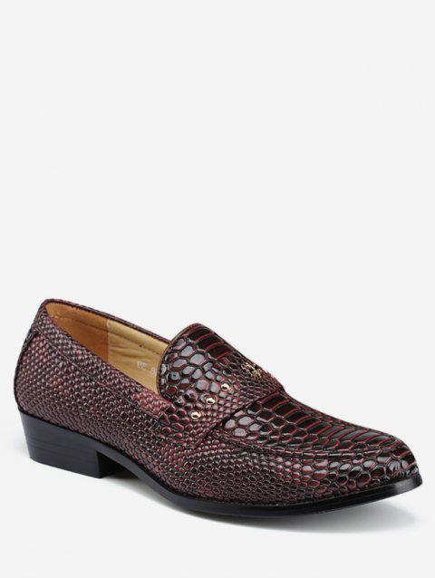 Pointed Toe Snake Print Business Shoes - BROWN EU 43