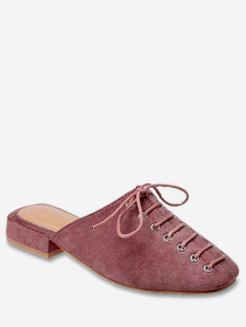 Lace Up Square Toe Slingback Flats - PINK EU 36