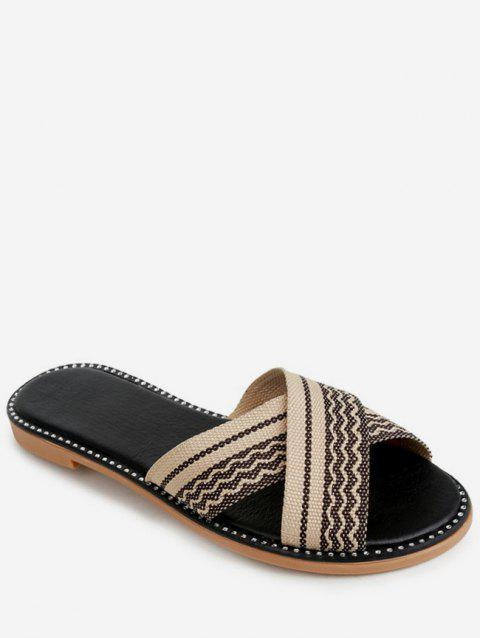 Striped Crisscross Strap Slippers - BLACK EU 36