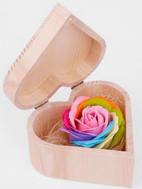 Valentine Gift Colorful Rose Soap with Heart Box - multicolor A