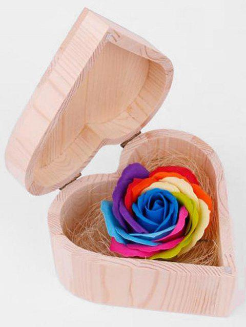 Valentine Gift Colorful Rose Soap with Heart Box - multicolor B