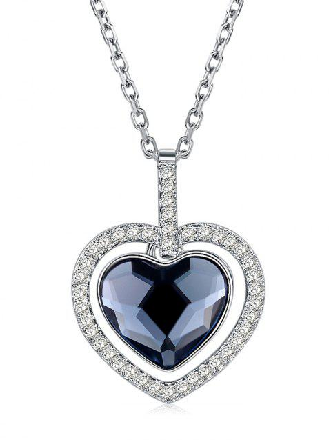 Crystal Heart Necklace Sweater Chain - MIDNIGHT BLUE
