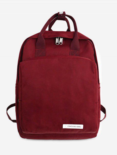 Nylon Chic Style Student Backpack - RED WINE