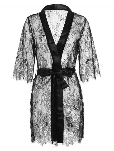 Sheer Satin Lace Lingerie Robe With Belt - BLACK S