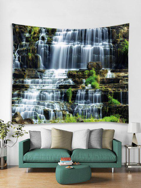 Landscape Waterfalls Printed Tapestry Art Decoration - multicolor W59 X L51 INCH