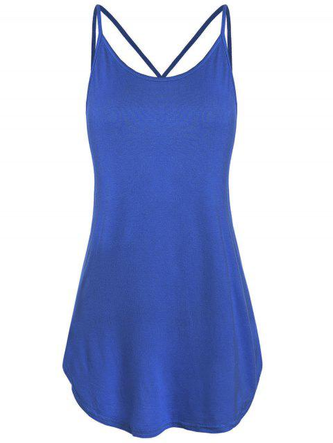 Strappy Lattice Back Tank Top - BLUE M