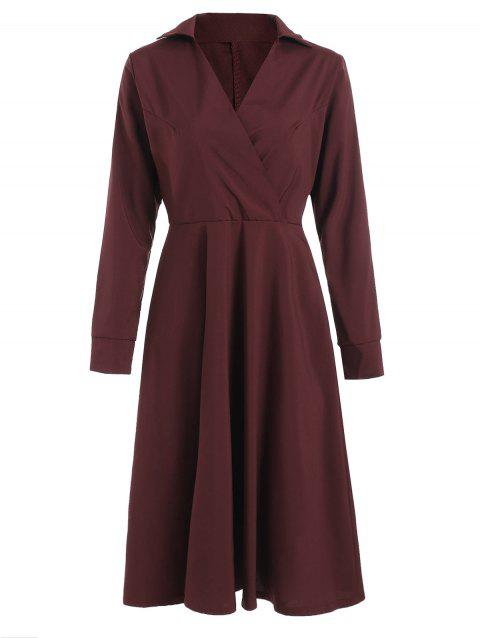 Crossover Knee Length A Line Shirt Dress - MAROON L