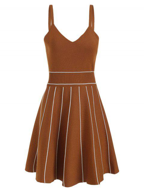 A Line Knit A Line Dress - LIGHT BROWN M
