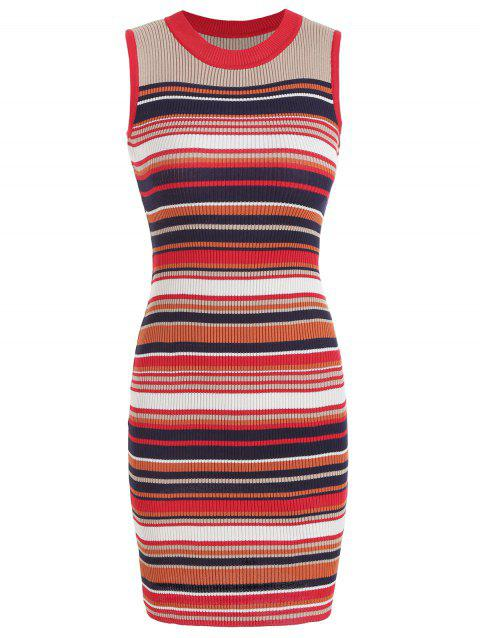 Knit Striped Round Neck Fitted Dress - multicolor L